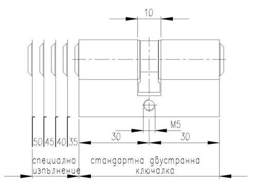 Технически чертеж Ключалка Сонико